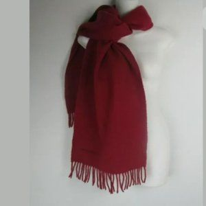 Red Knit Wool Fringe Scarf